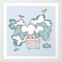 con la testa fra le nuvole (have one's head in the clouds) Art Print