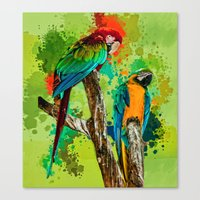 Paint Splashed Macaws Canvas Print