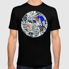 Retro Kamasutra LOVE Doodle  Black Mens Fitted Tee SMALL