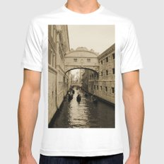Bridge of Sighs, Venice, Italy, Sepia,  Mens Fitted Tee White SMALL