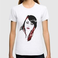 minimal girl 3 Womens Fitted Tee Ash Grey SMALL