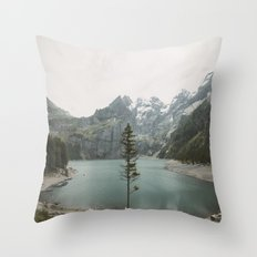 Lone Switzerland Tree - Landscape Photography Throw Pillow