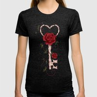 Key Of Love Womens Fitted Tee Tri-Black SMALL