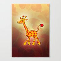 Happy Giraffe Spotted with Hearts Canvas Print