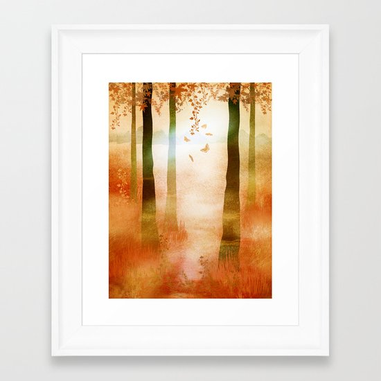 sunrise in autumn Framed Art Print