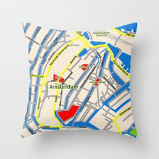 Amsterdam Map design Throw Pillow