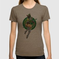 Star Wars Fett pinup Womens Fitted Tee Tri-Coffee SMALL
