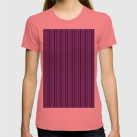 Purple Double Stripes Pattern Womens Fitted Tee Pomegranate SMALL
