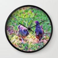 Hens In A Field Wall Clock
