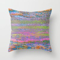 51-23-76 (Pastel Rainbow Glitch) Throw Pillow