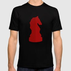 Red Chess Piece - Knight Mens Fitted Tee Black SMALL