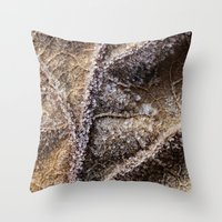 Frost Crystals On A Leaf Throw Pillow