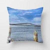 Bridge to sand and sea Throw Pillow