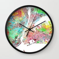 New York Map Splash Pain… Wall Clock
