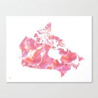 Pink Canada Watercolour Map Canvas Print