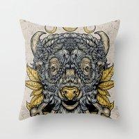 Buffalo Attack Throw Pillow