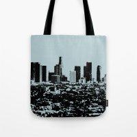 Downtown Los Angeles Skyline - Stamp Pattern on Light Blue Tote Bag