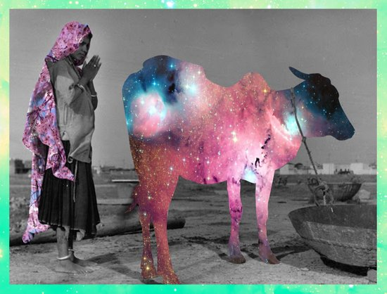 Old India - Worshiping the Space Cow Art Print