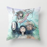 Spirited Away Watercolor… Throw Pillow