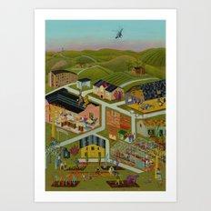 Map Of A Village Art Print