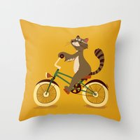 Raccoon on a bicycle Throw Pillow