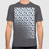 Blue stars on white background illustration Mens Fitted Tee Asphalt SMALL