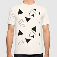 Modern Black Triangles Mens Fitted Tee Natural SMALL