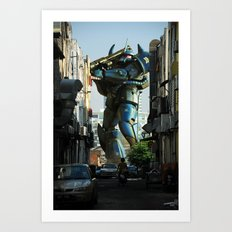 Mech behind a back alley Art Print