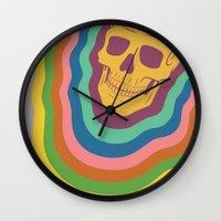 Trippy Rainbow Skull Wall Clock