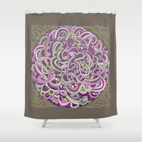 Detailed circlecorner, purple olive  Shower Curtain