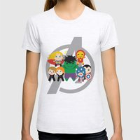 Tiny Heroes, Assemble Womens Fitted Tee Ash Grey SMALL