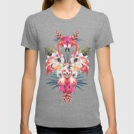Flamingos Tropicales Womens Fitted Tee Tri-Grey LARGE