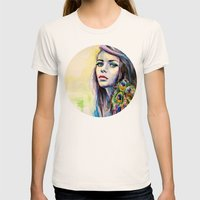 Peacock Girl Womens Fitted Tee Natural SMALL