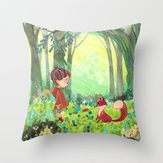Fox and child Throw Pillow