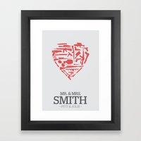 Mr. & Mrs. Smith - minimal poster Framed Art Print