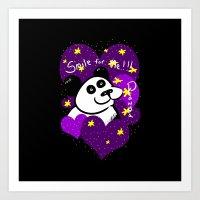 Smile For Me! PANDA - Hearts Art Print
