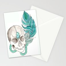 Skull Feather Stationery Cards