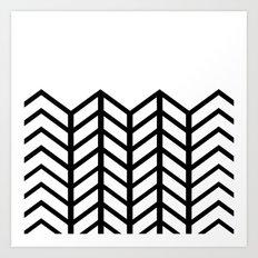 BLACK & WHITE LACE CHEVRON Art Print