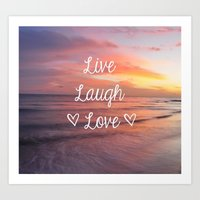 Live Laugh Love - Beach Art Print