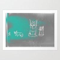 Abby Chalk Cat Art Print