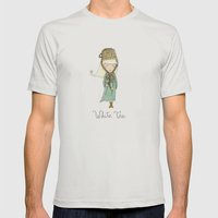 White Tea Girl Mens Fitted Tee Silver SMALL