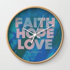 Faith,Hope,Love (Pink) Wall Clock