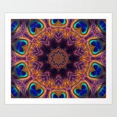 Peacock Fan Star Abstract Art Print