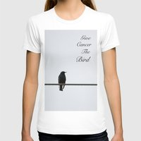 Give Cancer the Bird 2 Womens Fitted Tee White SMALL