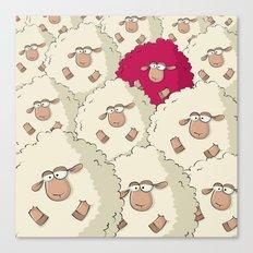 Sheep Pattern | Pink Canvas Print
