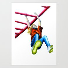 Girl On Monkey Bars Art Print