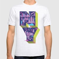 New York Mens Fitted Tee Ash Grey SMALL