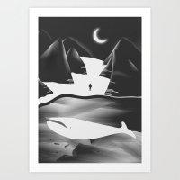 Moon, Boy & The Whale Art Print