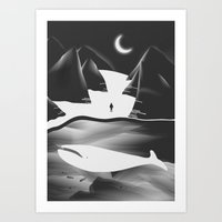 Moon, Boy & The Whale Art Print