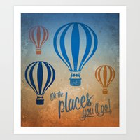 Oh, the Places You'll Go - Blue & Gold Art Print